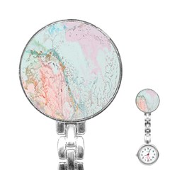 Geode Crystal Pink Blue Stainless Steel Nurses Watch