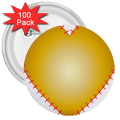Heart Rhythm Gold Red 3  Buttons (100 pack)