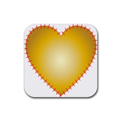 Heart Rhythm Gold Red Rubber Coaster (Square)