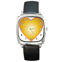 Heart Rhythm Gold Red Square Metal Watch
