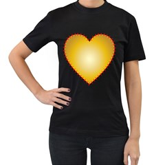 Heart Rhythm Gold Red Women s T-Shirt (Black) (Two Sided)