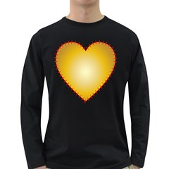 Heart Rhythm Gold Red Long Sleeve Dark T-Shirts