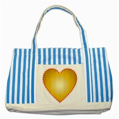 Heart Rhythm Gold Red Striped Blue Tote Bag