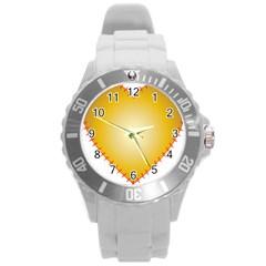 Heart Rhythm Gold Red Round Plastic Sport Watch (L)