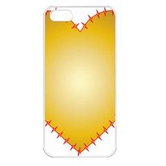 Heart Rhythm Gold Red Apple iPhone 5 Seamless Case (White)
