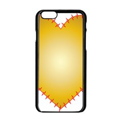 Heart Rhythm Gold Red Apple iPhone 6/6S Black Enamel Case