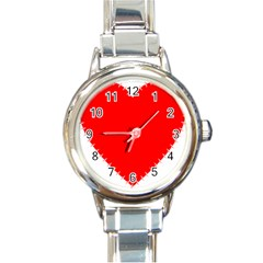 Heart Rhythm Inner Red Round Italian Charm Watch