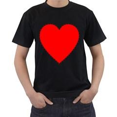 Heart Rhythm Inner Red Men s T-Shirt (Black) (Two Sided)