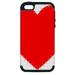 Heart Rhythm Inner Red Apple iPhone 5 Hardshell Case (PC+Silicone)