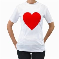 Heart Rhythm Inner Red Women s T-Shirt (White)