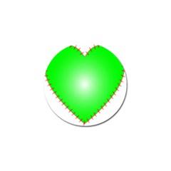Heart Rhythm Inner Green Red Golf Ball Marker (4 pack)