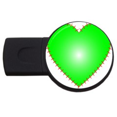 Heart Rhythm Inner Green Red USB Flash Drive Round (2 GB)