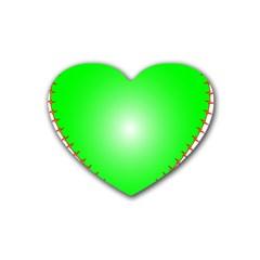 Heart Rhythm Inner Green Red Heart Coaster (4 pack)