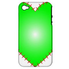 Heart Rhythm Inner Green Red Apple iPhone 4/4S Hardshell Case (PC+Silicone)