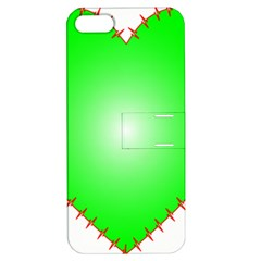 Heart Rhythm Inner Green Red Apple Iphone 5 Hardshell Case With Stand