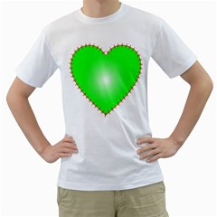 Heart Rhythm Inner Green Red Men s T-Shirt (White)