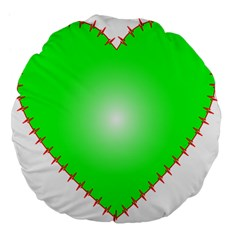 Heart Rhythm Inner Green Red Large 18  Premium Flano Round Cushions