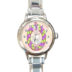 Make An Easter Egg Wreath Rabbit Face Cute Pink White Round Italian Charm Watch
