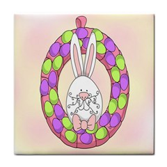 Make An Easter Egg Wreath Rabbit Face Cute Pink White Tile Coasters