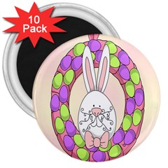 Make An Easter Egg Wreath Rabbit Face Cute Pink White 3  Magnets (10 pack)
