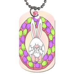 Make An Easter Egg Wreath Rabbit Face Cute Pink White Dog Tag (Two Sides)