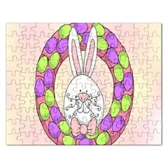 Make An Easter Egg Wreath Rabbit Face Cute Pink White Rectangular Jigsaw Puzzl