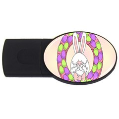 Make An Easter Egg Wreath Rabbit Face Cute Pink White USB Flash Drive Oval (4 GB)