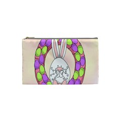 Make An Easter Egg Wreath Rabbit Face Cute Pink White Cosmetic Bag (Small)