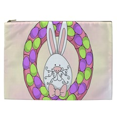 Make An Easter Egg Wreath Rabbit Face Cute Pink White Cosmetic Bag (XXL)