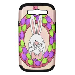 Make An Easter Egg Wreath Rabbit Face Cute Pink White Samsung Galaxy S III Hardshell Case (PC+Silicone)