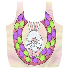 Make An Easter Egg Wreath Rabbit Face Cute Pink White Full Print Recycle Bags (L)