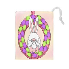 Make An Easter Egg Wreath Rabbit Face Cute Pink White Drawstring Pouches (Large)