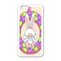 Make An Easter Egg Wreath Rabbit Face Cute Pink White Apple iPhone 6/6S White Enamel Case