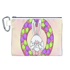 Make An Easter Egg Wreath Rabbit Face Cute Pink White Canvas Cosmetic Bag (L)