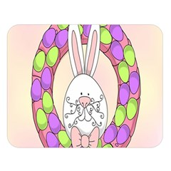 Make An Easter Egg Wreath Rabbit Face Cute Pink White Double Sided Flano Blanket (Large)