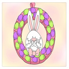 Make An Easter Egg Wreath Rabbit Face Cute Pink White Large Satin Scarf (Square)