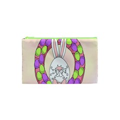 Make An Easter Egg Wreath Rabbit Face Cute Pink White Cosmetic Bag (XS)