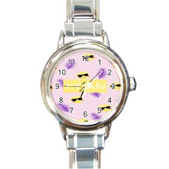 I Can Purple Face Smile Mask Tree Yellow Round Italian Charm Watch