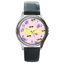 I Can Purple Face Smile Mask Tree Yellow Round Metal Watch