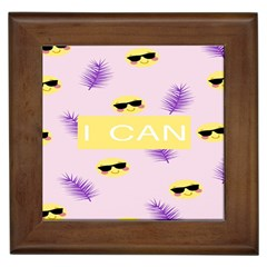 I Can Purple Face Smile Mask Tree Yellow Framed Tiles
