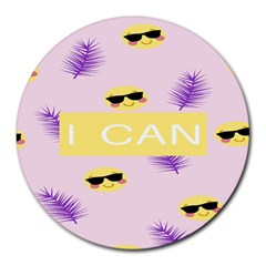 I Can Purple Face Smile Mask Tree Yellow Round Mousepads