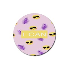 I Can Purple Face Smile Mask Tree Yellow Rubber Round Coaster (4 pack)