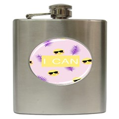 I Can Purple Face Smile Mask Tree Yellow Hip Flask (6 oz)