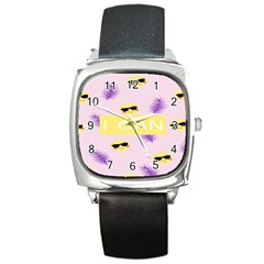 I Can Purple Face Smile Mask Tree Yellow Square Metal Watch