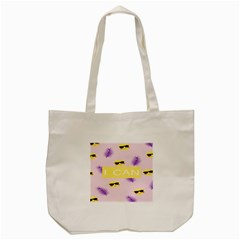 I Can Purple Face Smile Mask Tree Yellow Tote Bag (Cream)