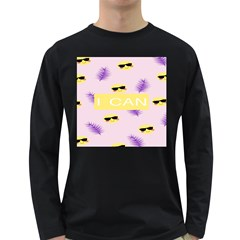I Can Purple Face Smile Mask Tree Yellow Long Sleeve Dark T-Shirts