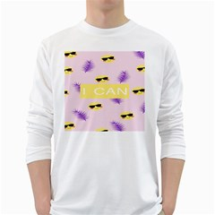 I Can Purple Face Smile Mask Tree Yellow White Long Sleeve T-Shirts