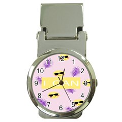I Can Purple Face Smile Mask Tree Yellow Money Clip Watches
