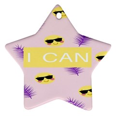 I Can Purple Face Smile Mask Tree Yellow Star Ornament (Two Sides)