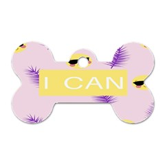 I Can Purple Face Smile Mask Tree Yellow Dog Tag Bone (two Sides)